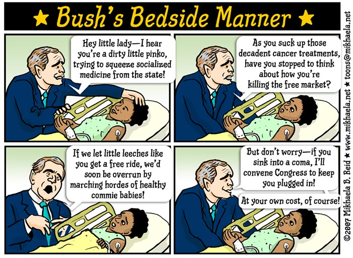 Cartoon on Bush and health care for US children, by Mikhaela