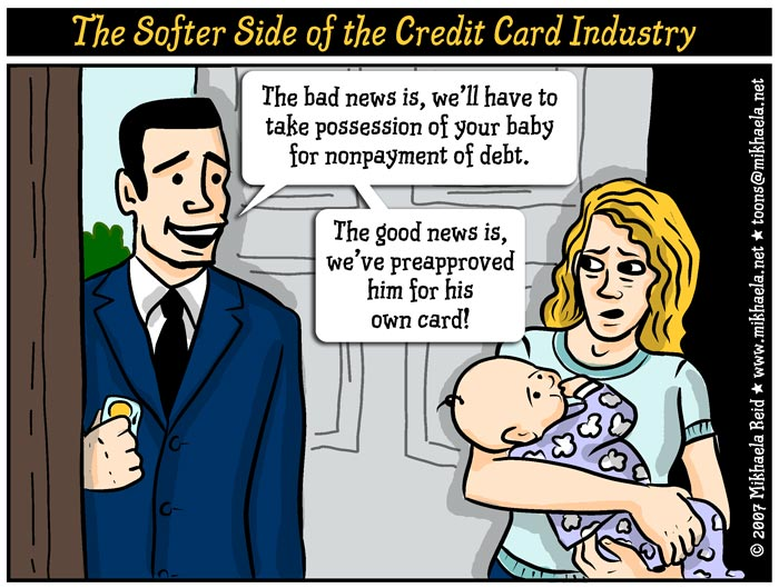 Credit cards in the USA, cartoon by Mikhaela